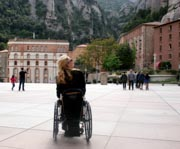 Woman-tourist-in-wheelchair-at-the-Monastery-of-Montserrat