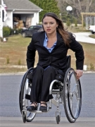 wheelchair;woman;female;outdoors;professional;business-woman;work