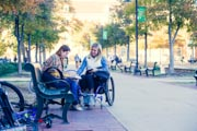 Young-woman-in-wheelchair-at-college