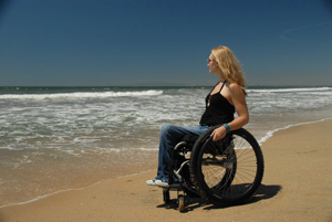 wheelchair on beach